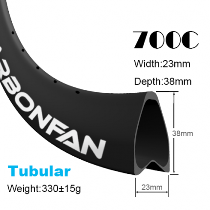 Depth:38mm width:23mm Tubular 700C tubeless Ready carbon road rims