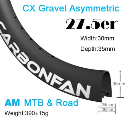 Width:30mm Depth:35mm 27.5er (650B) Hookless Asymmetric CX Gravel carbon mountain bike rim All Mountain