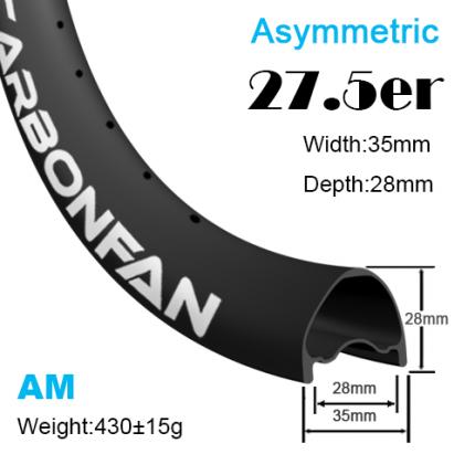 Width:35mm Depth:28mm 27.5er Asymmetric carbon mountain bike rims 650B All mountain Tubeless Ready