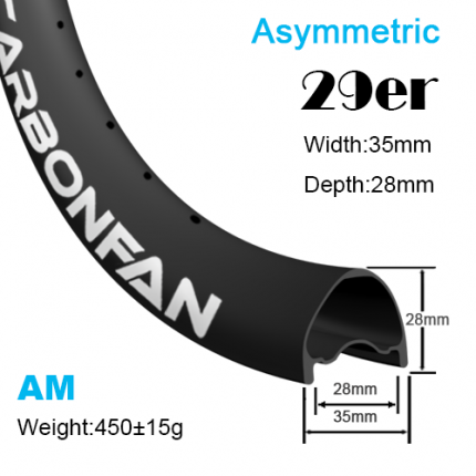 Width:35mm Depth:28mm 29er Asymmetric carbon mountain bike rims All mountain Tubeless Ready