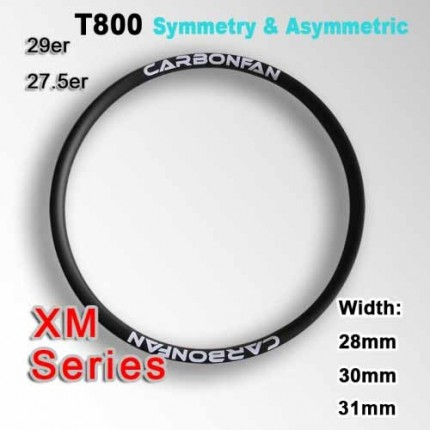 T800  Tubeless Symmetric & Asymmetric Carbon Mountain Bike Rim XM series ( Width: 28mm, 30mm, 31mm )