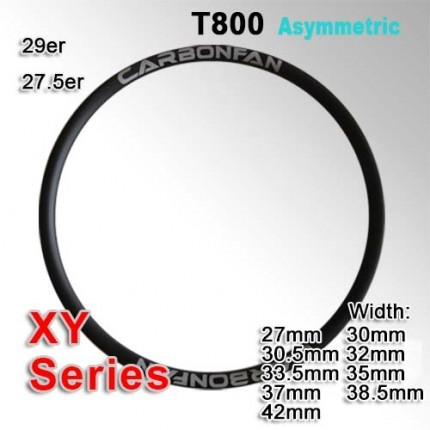T800 Tubeless Asymmetric Carbon Mountain Bike Rim XY series ( Width: 27mm, 30mm, 30.5mm, 32mm, 33.5mm, 35mm, 37mm, 38.5mm, 42mm )