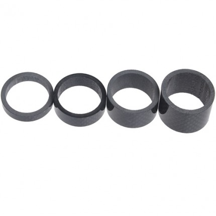 Carbonfan Cycling Accessories 4 Pieces Carbon Bike Stem Spacer 5/10/15/20 mm Washer Headset Bicycle Spacer Kit for Bike Fix Refit