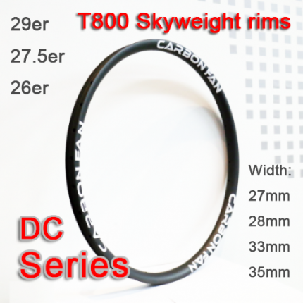 T800 tubeless symmetric & asymmetric carbon mountain bike rims carbon hookless rims DC series ( width 24mm, 27mm, 28mm, 30mm, 33mm, 35mm, 40mm )